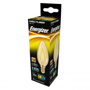 ENERGIZER FILAMENT GOLD LED CANDLE 200LM 2.6W E14 (SES) WARM WHITE, PACK OF 1