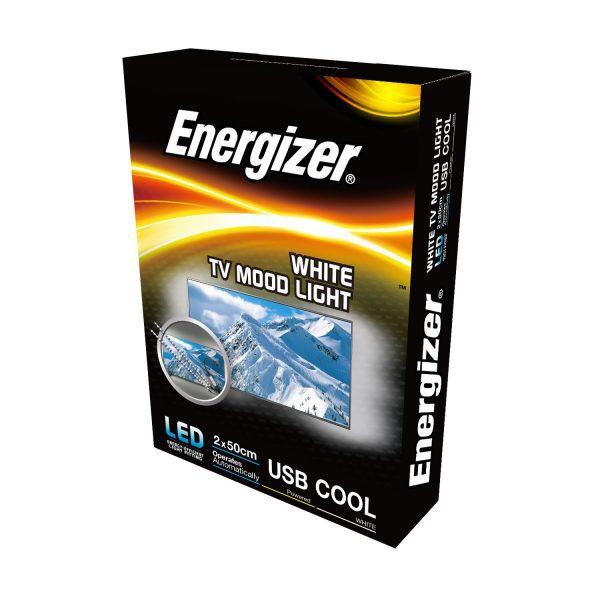 ENERGIZER LED 2 x 50CM WHITE FLEXI USB TV STRIPLIGHT, 2.5W