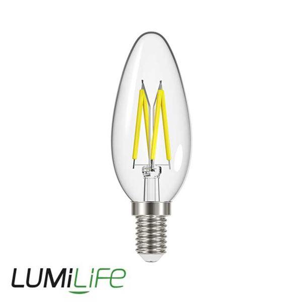 LUMILIFE 4.8W E14 (SES) Candle Filament LED - 450 Lumen - Warm White (2700K) - Dimmable