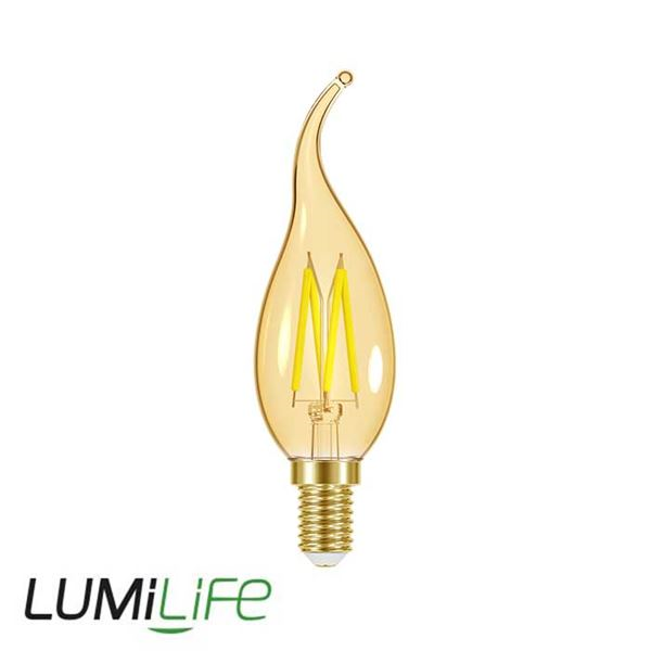 LUMILIFE 4.8W E14 (SES) Flame Tip Filament Amber LED - 300 Lumen - Warm White (2000K) - Dimmable