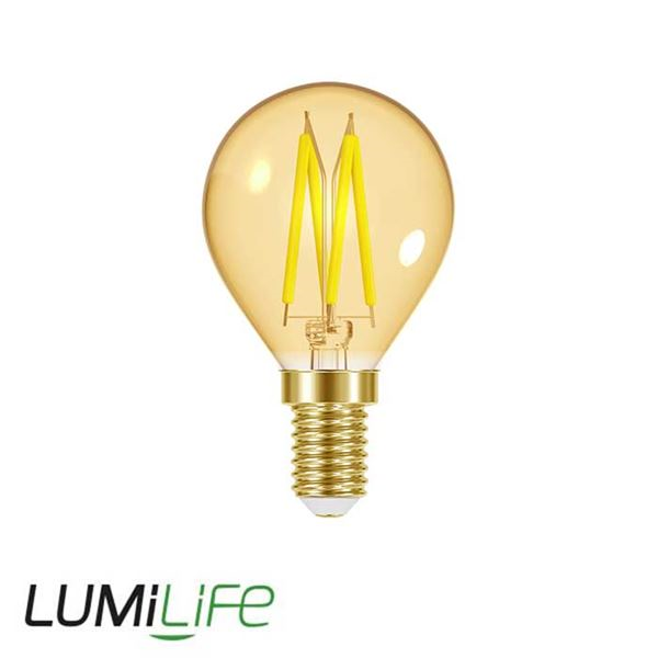 LUMILIFE 4.8W E14 (SES) Golf Filament Amber LED - 300 Lumen - Warm White (2000K) - Dimmable
