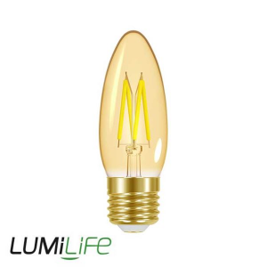 LUMILIFE 4.8W E27 (ES) Candle Filament Amber LED - 300 Lumen - Warm White (2000K) - Dimmable