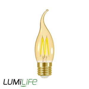 LUMILIFE 4.8W E27 (ES) Flame Tip Filament Amber LED - 300 Lumen - Warm White (2000K)- Dimmable