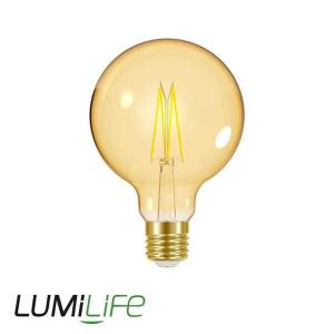 LUMILIFE 7.5W E27 (ES) Large Globe Filament Amber LED - 600 Lumen - Warm White (2000K) - Dimmable