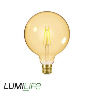 LUMILIFE 7.5W E27 (ES) XL Globe Filament Amber LED - 600 Lumen - Warm White (2000K) - Dimmable