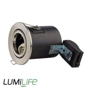 LUMILIFE IP20 FIRE RATED QUICK CONNECT DOWNLIGHT FITTING - BRUSHED NICKEL