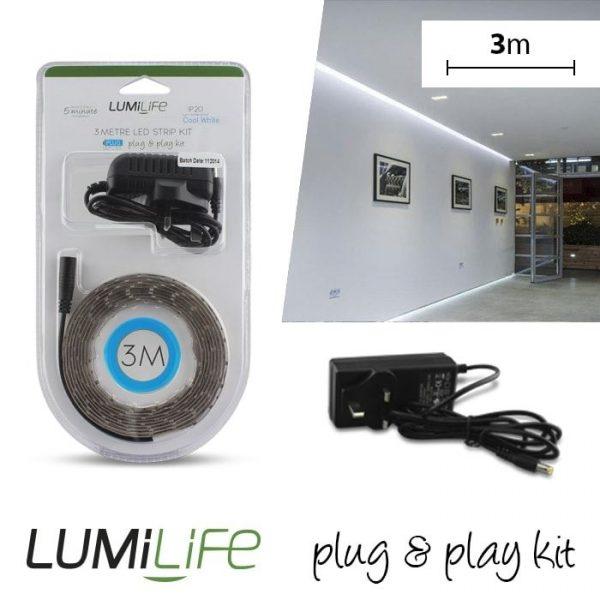 LUMILIFE LED FLEXI STRIP KIT - 3M - NON-WATERPROOF - COOL WHITE