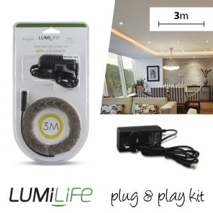 LUMILIFE LED FLEXI STRIP KIT - 3M - NON-WATERPROOF - WARM WHITE